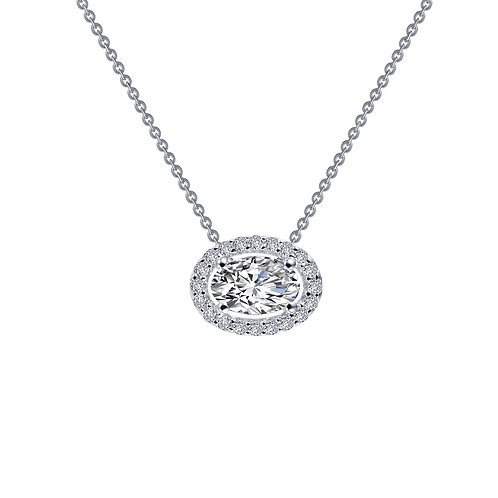 Sterling silver and simulated diamond oval pendant necklace. Oval halo pendant. Halo necklace. Simulated diamond crystal oval