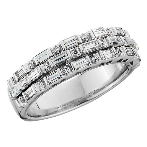 14K white gold and 1.12cttw diamond band. Baguette diamond band. Emerald cut diamond band. Three row anniversary band.