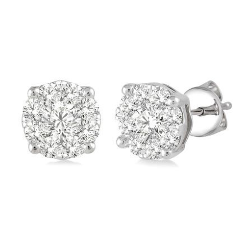 Diamond earrings. White gold diamond earrings. White gold diamond stud earrings. White gold diamond cluster earrings.