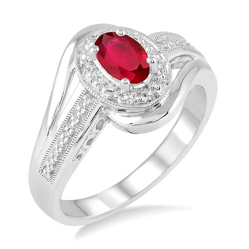 Ruby and diamond halo ring in sterling silver. Diamond ring. Ruby ring. July birthstone ring. Halo ring in sterling silver.