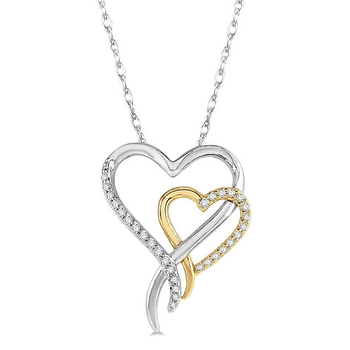 10K yellow and white gold and diamond double heart pendant. Two tone double heart pendant. Two heart pendant. Two-heart gold