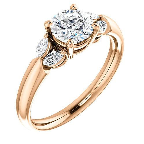 14K rose gold nature inspired engagement ring. Petal inspired engagement ring with marquise accented diamonds. Diamond accent