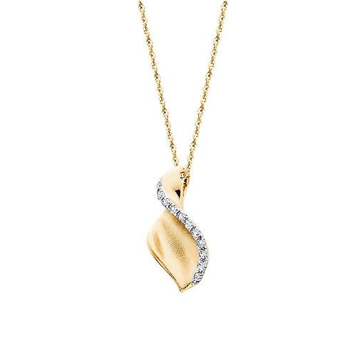 10K yellow gold satin swirl pendant with diamonds. White diamonds and yellow gold. Yellow gold diamond pendant. Satin gold.