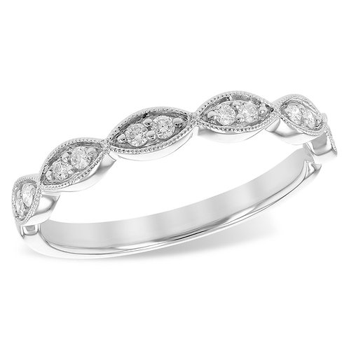 14K white gold stackable ring with diamonds and millgrain accents. Diamond stack ring. Anniversary ring. Wedding ring.