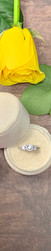 14K White Gold, .82cttw Vintage Inspired Three Stone Halo Engagement Ring