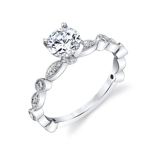 14K white gold diamond engagement ring with vintage inspired millgrain details and bezel set accent stones. Diamond vintage.