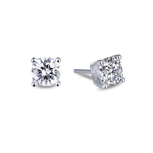 Sterling silver stud earrings cushion shaped simulated diamonds. CZ earrings. Cubic zirconia crystal stud earrings. Platinum.