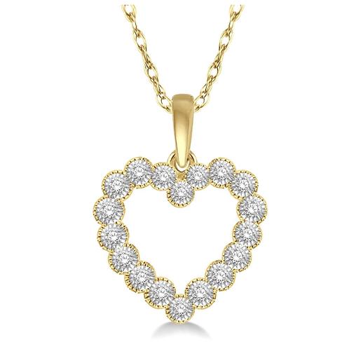 10K yellow gold diamond heart pendant. Yellow gold heart necklace. Heart pendant. Diamond necklace. Diamond heart. Diamonds.