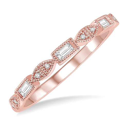 14K rose gold stackable ring with round and baguette shaped diamonds. Millgrain accented diamond ring. Stacking ring. Rose.