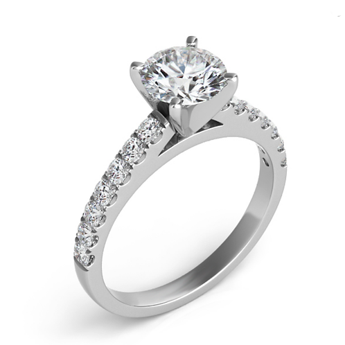 14K white gold diamond engagement ring with prong set diamond accents and cathedral design. Cathedral engagement ring. Ring.