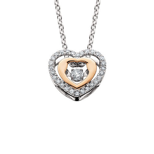 14K white and rose gold dancing diamond heart pendant. Dancing diamond rose gold necklace. Two tone pendant. Two tone heart.
