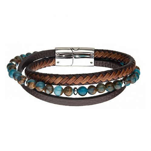 Layered bracelet featuring smooth brown leather, braided brown leather and Chrysocolla beaded bracelets interwoven layered.