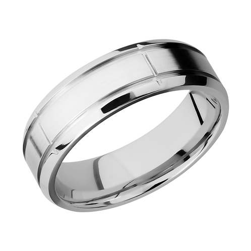 Comfort fit men's ring. Men's wedding band in cobalt chrome with segmented laser etched surface and polished edges. Comfort.