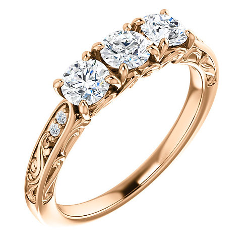 14K rose gold three stone engagement ring with round diamonds. Diamond accented engagement ring. Diamond anniversary ring.