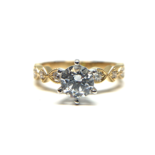 14K yellow gold diamond engagement ring with vintage inspired millgrain and setting details. Vintage engagement ring. Diamond