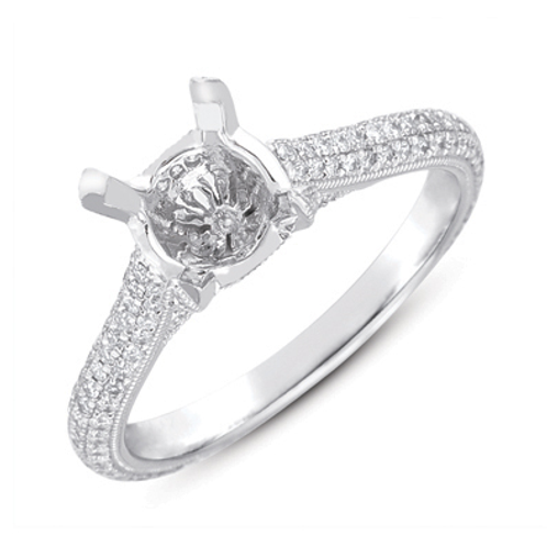 14K White Gold and .54cttw Micro Pave Diamond Engagement Ring