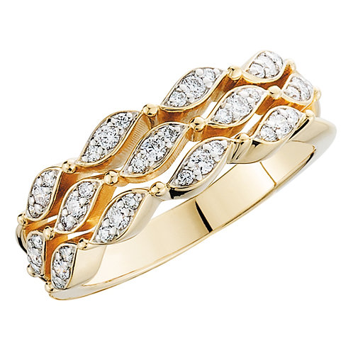 Yellow gold diamond ring. Diamond band. Right hand ring. Yellow gold anniversary ring. Waves of desire ring. Celebration ring