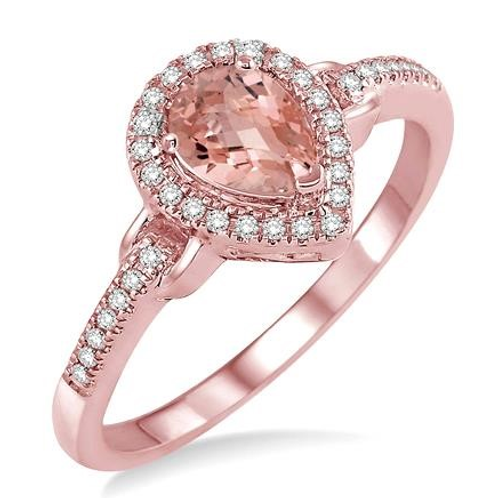 Rose gold ring with diamonds and morganite. Morganite and diamond ring. Morganite halo ring. Rose gold morganite ring.