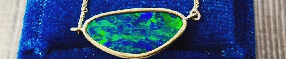 Blue Australian Opal Doublet Pendant