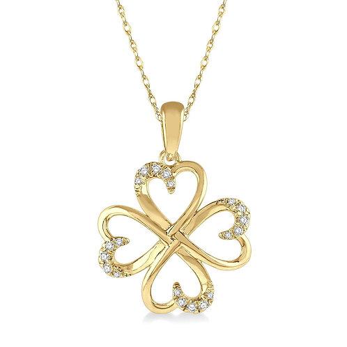 10K yellow gold lucky clover heart pendant. Four heart clover pendant. Heart clover pendant with diamonds. Diamond heart gold