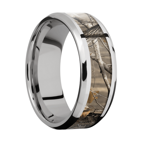 Cobalt Chrome Mens Wedding Band With Realtree Ap Camo Inlay And