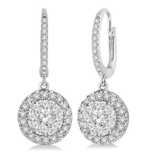 """14K white gold diamond halo drop earrings. """"WOW!"""" diamond halo drop earrings. Cluster earrings. White gold leverback earrings"""