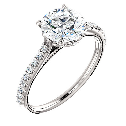 14K white gold diamond engagement ring with millgrain accented band. Floral inspired crown. White gold ring with diamonds.