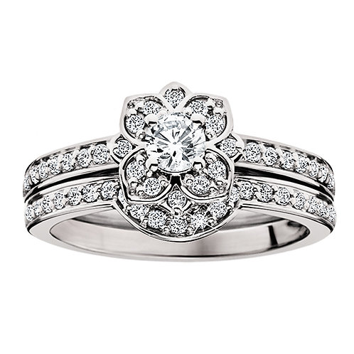 14K white gold and diamond vintage inspired floral style engagement ring and wedding band complete set. Nature and floral.