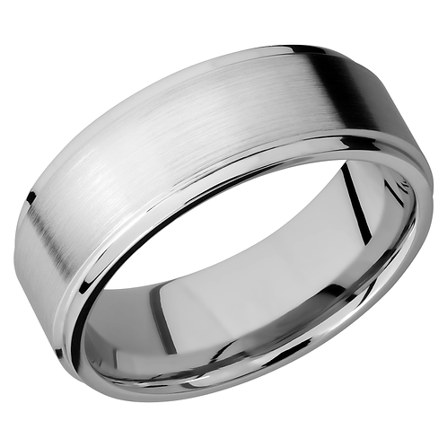 Men's cobalt chrome wedding band with satin finish and flat polished grooved edges. Men's wedding ring. Men's band. Mens band