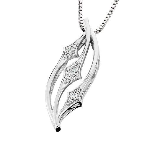 14K white gold diamond pendant with three groups of three stones. Today tomorrow and always pendant. Three stone pendant.