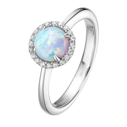 Platinum plated sterling silver ring with simulated diamonds and simulated opal stone. Birthstone ring. October birthstone.