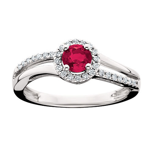 14K white gold diamond and ruby split band bypass style ring. Birthstone ring. July birthstone ring. Ruby halo ring. Diamonds