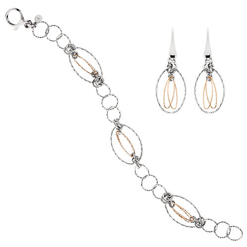 Sterling silver and rose gold earring set. Faceted metal bracelet and earrings. Rose gold bracelet. Rose gold earrings.
