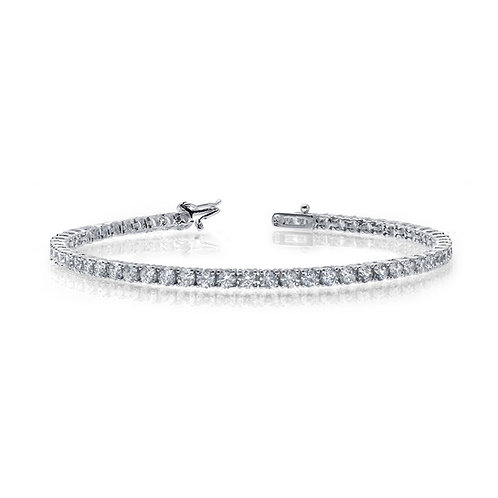 Sterling silver bracelet with prong set simulated diamonds. Simulated diamond tennis bracelet. Tennis bracelet with safety.