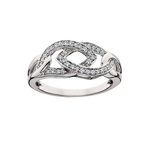 10K white gold and diamond destiny knot ring. Destiny knot diamond ring. White gold diamond ring. Celtic diamond ring. Knot.