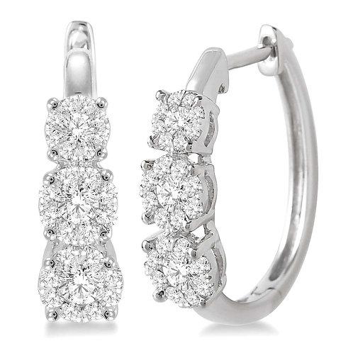 """14K white gold """"WOW!"""" diamond earrings. Three stone earrings. 3-stone earrings. Journey earrings. Past present and future."""