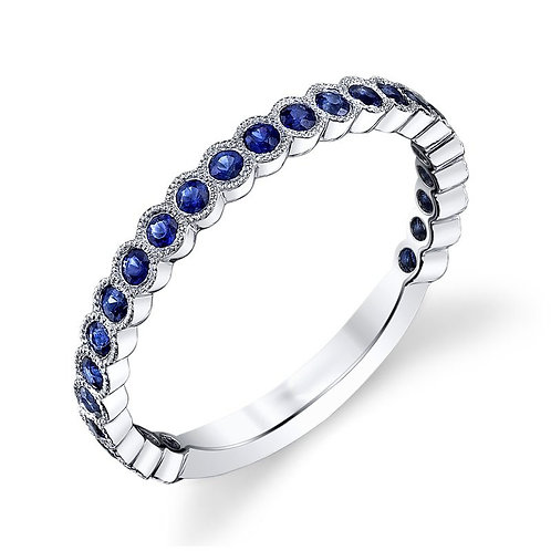 14K white gold stackable ring with blue sapphire stones in bezel settings. Bezel set stackable ring. Stackable bezel ring.