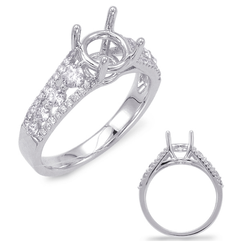 14K White Gold Engagement Ring with .73cttw Micro Prong Set Diamonds. Diamond engagement ring. Diamond ring. White gold ring.