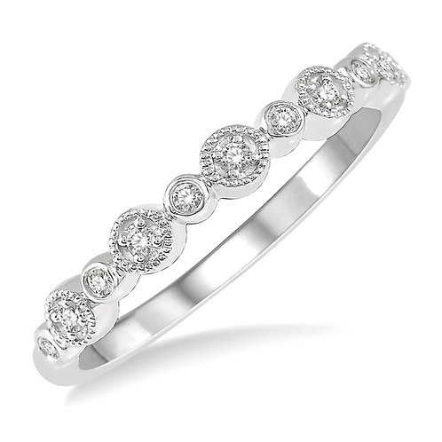 14K white gold stackable ring with bezel set diamonds and millgrain accented pave diamonds. Round diamond stackable ring.