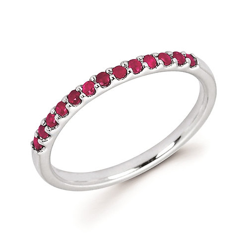 14K white gold and ruby stackable birthstone ring. Stackable ruby ring. Red stone ring. July birthstone ring. Stackable band.