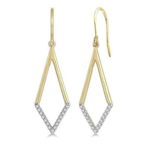 10K yellow gold geometric drop earrings. Diamond drop earrings. Yellow gold diamond earrings. Diamond shaped earrings. Drops.