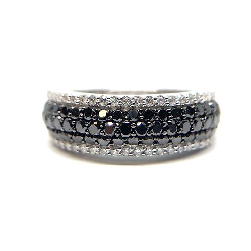 14K white gold with black and white diamond shared prong pave style row band. Diamond band. Anniversary band. Black diamonds.