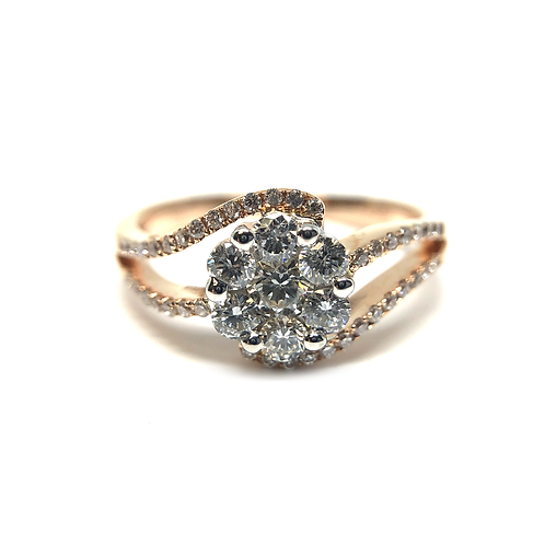 14K rose gold diamond ring. Diamond bypass style ring. Split band rose gold ring. Rose gold cluster ring. Rose gold. Diamonds