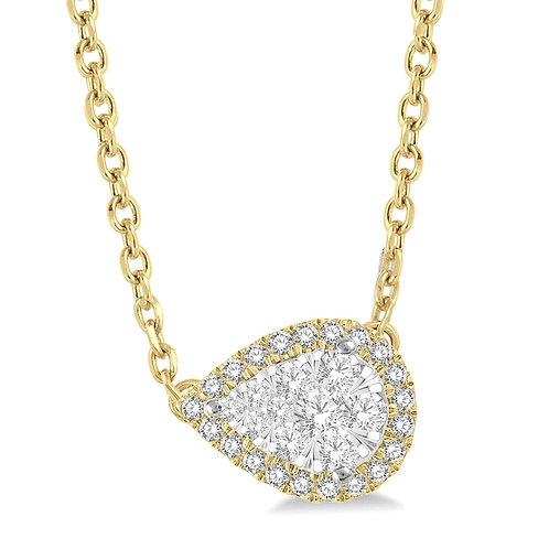 14K yellow gold diamond pear shaped pendant necklace. Pear shape diamond pendant necklace. Yellow gold pear shape pendant.