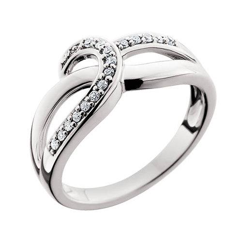 10K white gold and .14cttw diamond criss-cross swoop ring. Crisscross. Crossover. White gold diamond ring. Anniversary ring.