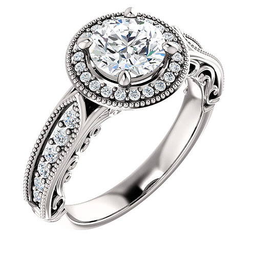 14K white gold diamond engagement ring with millgrain detail and filigree gallery. Peek-a-boo diamond in gallery. Vintage.