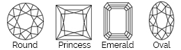 Thurber Jewelers Diamond Shape Chart - Round - Princess - Emerald Cut - Oval
