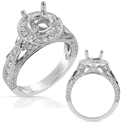 14K white gold vintage inspired engagement ring featuring millgrain and filagree details. Diamond ring. Diamond engagement.