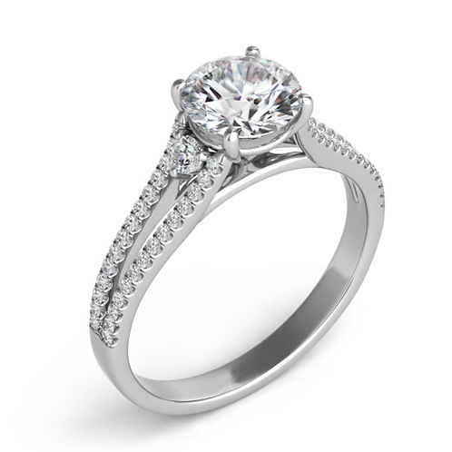 14K White gold split band three stone engagement ring. Diamond engagement ring. Diamond three stone engagement ring