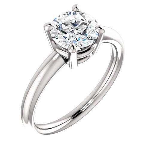 14K white gold diamond engagement ring. Diamond solitaire engagement ring. White gold solitaire ring. Solitaire diamond ring.